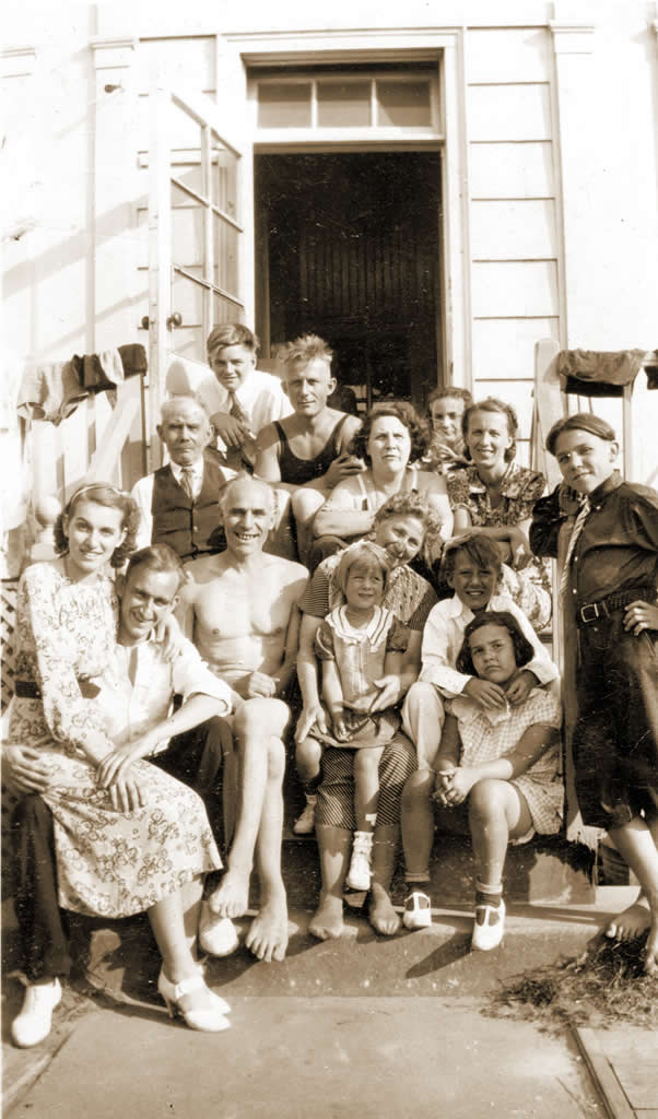 "Our ""room"" at The White House in Rockaway, 1938. Helen & Ted Hinck; Uncle Charly & Cousin Bobby Hoppe; ""Aunt"" Mabel, Joyce & Muriel Trotte; G'pa + G'ma Hoppe; Mom, Dad, Claire + Will."